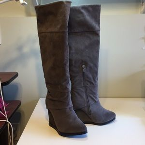 Shoes - Wedge Knee High Boots Gray